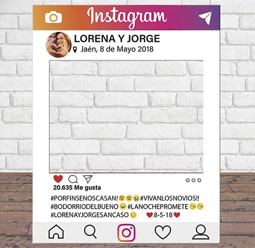 Marco Instagram Personalizado para photocall en bodas, comuniones y eventos