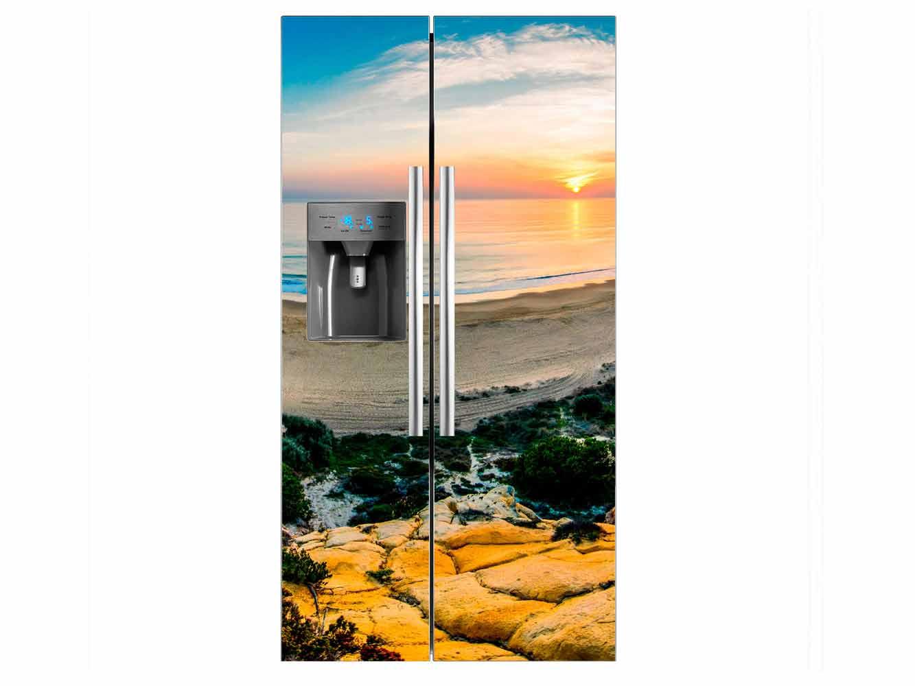 Vinilo Frigorífico Playa Curva | Carteles XXL - Impresión carteleria publicitaria