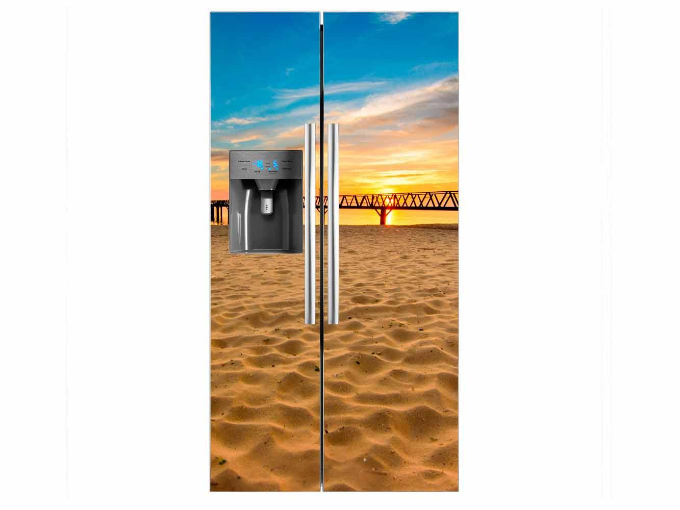 Vinilo Frigorífico Playa Muelle | Carteles XXL - Impresión carteleria publicitaria