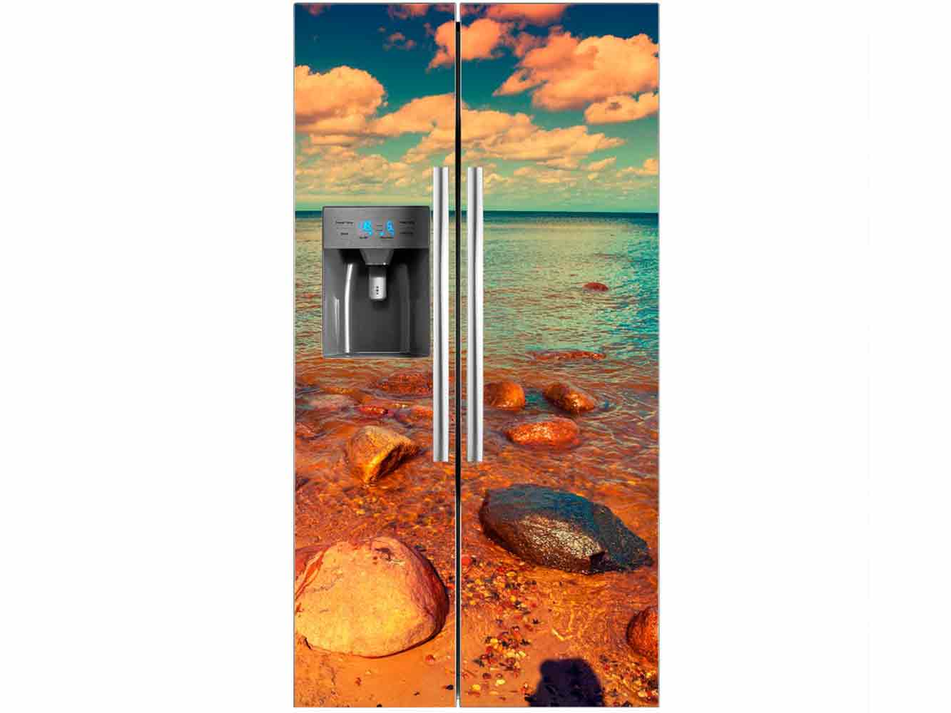 Vinilo Frigorífico Playa Rocosa | Carteles XXL - Impresión carteleria publicitaria