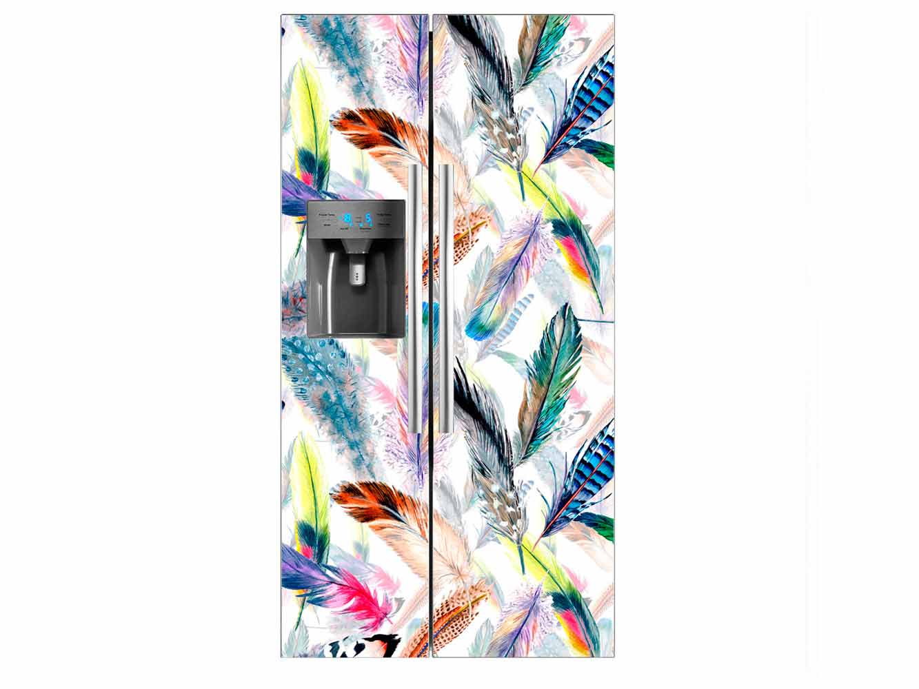 Vinilo Frigorífico Americano Plumas Multicolor | Carteles XXL - Impresión carteleria publicitaria