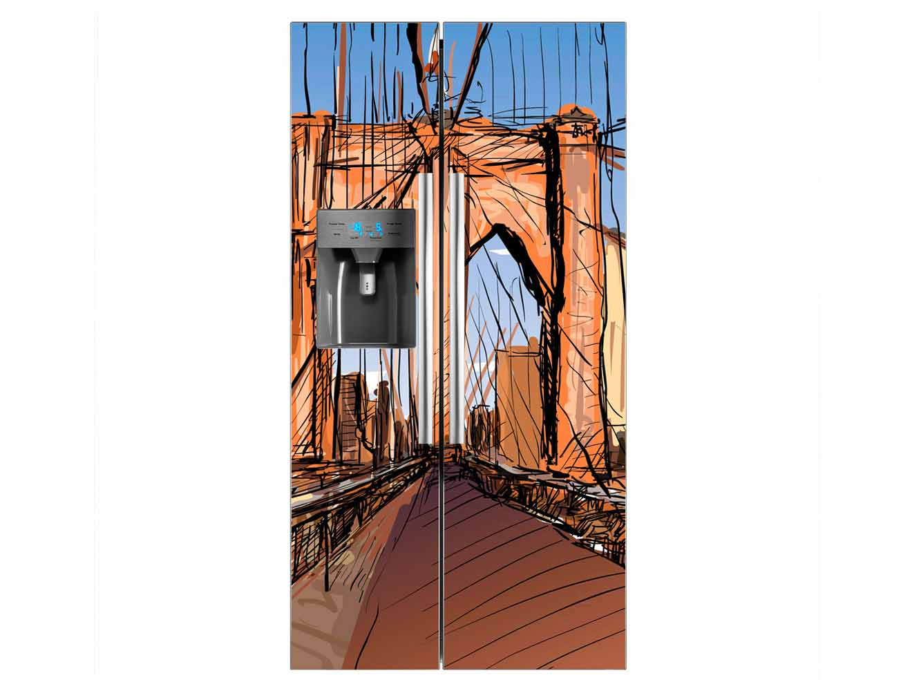 Vinilo Frigorífico Americano Puente Acuarela | Carteles XXL - Impresión carteleria publicitaria