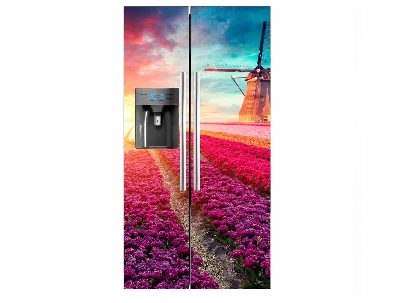 Vinilo Frigorífico Americano Rosas Multicolor | Carteles XXL - Impresión carteleria publicitaria