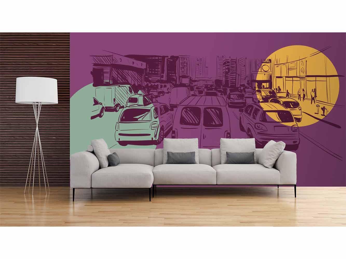 Fotomural Papel Pintado Cómic Tráfico | Carteles XXL - Impresión carteleria publicitaria