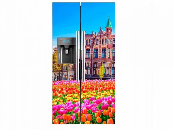 Vinilo Frigorífico Americano Tulipanes Ciudad | Carteles XXL - Impresión carteleria publicitaria