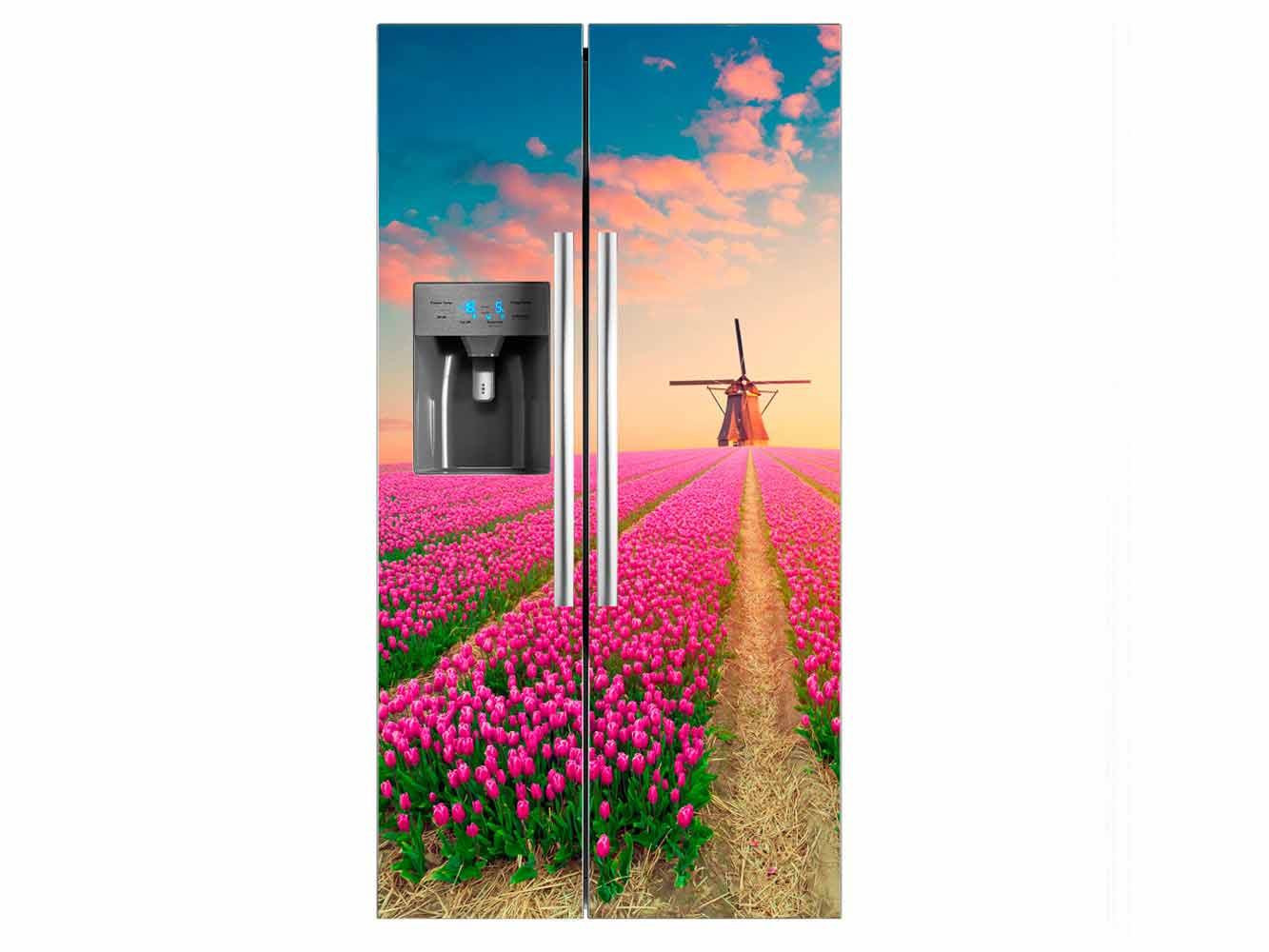 Vinilo Frigorífico Americano Tulipanes Rosa   Carteles XXL - Impresión carteleria publicitaria
