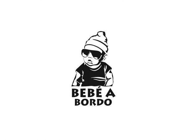 Vinilo Pegatina Coche Bebé a Bordo Hipster Black | Carteles XXL - Impresión carteleria publicitaria