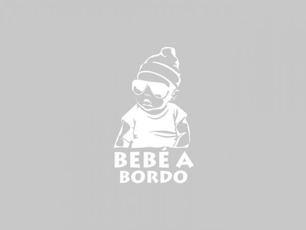 Vinilo Pegatina Coche Bebé a Bordo Hipster White | Carteles XXL - Impresión carteleria publicitaria