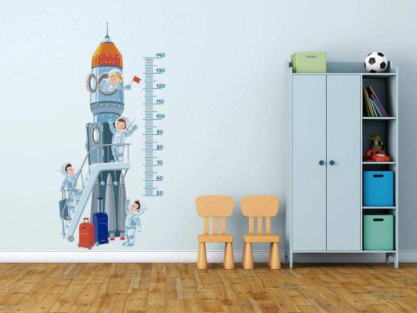 Vinilo Decorativo Infantil Cohete Medidor   Carteles XXL - Impresión carteleria publicitaria