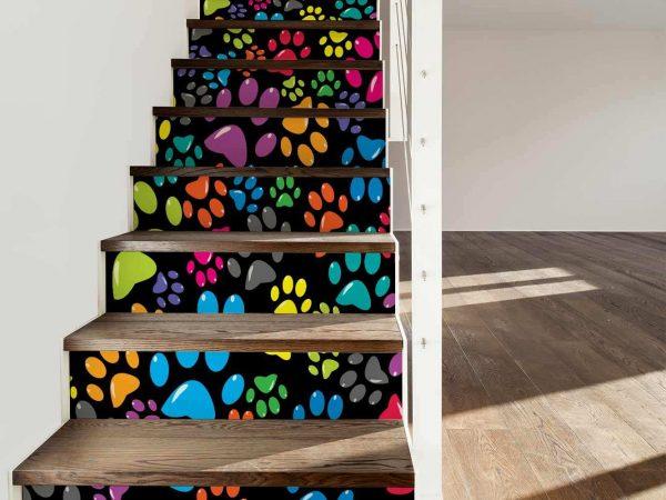 Vinilo Decorativo Escaleras Huellas Animales Colores | Carteles XXL - Impresión carteleria publicitaria