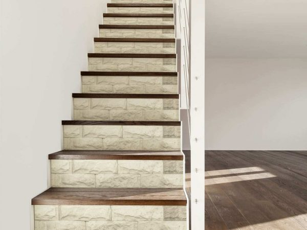 Vinilo Decorativo Escaleras Textura Piedra Blanca | Carteles XXL - Impresión carteleria publicitaria
