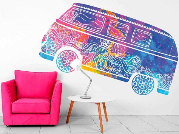 Vinilo Decorativo Espiritual Furgoneta Hippie Colores | Carteles XXL - Impresión carteleria publicitaria