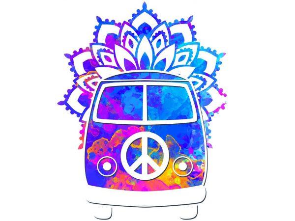 Vinilo Decorativo Espiritual Furgoneta Hippie Flores | Carteles XXL - Impresión carteleria publicitaria