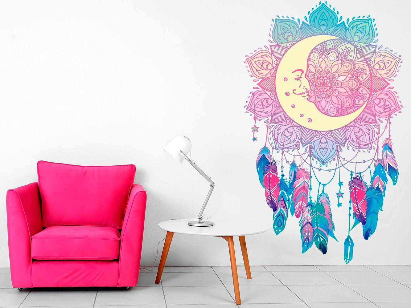 Vinilo Decorativo Espiritual Luna Atrapasueños | Carteles XXL - Impresión carteleria publicitaria
