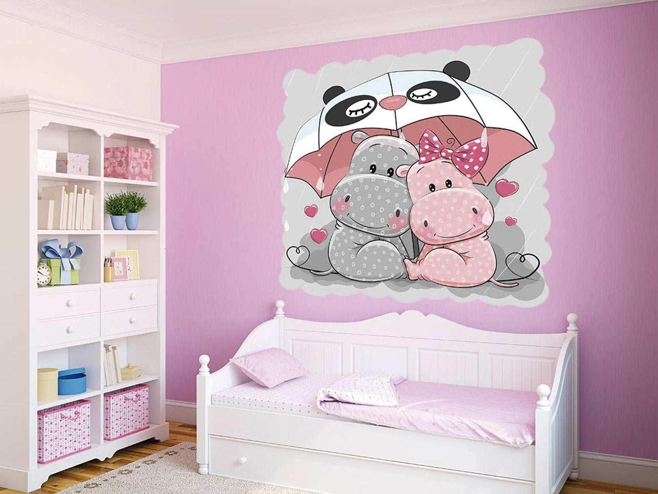 Vinilo Infantil Hipopotamos Paraguas | Carteles XXL - Impresión carteleria publicitaria