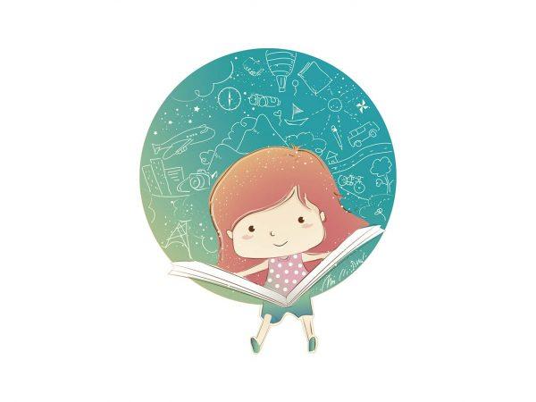 Vinilo Infantil Niña Lectura | Carteles XXL - Impresión carteleria publicitaria
