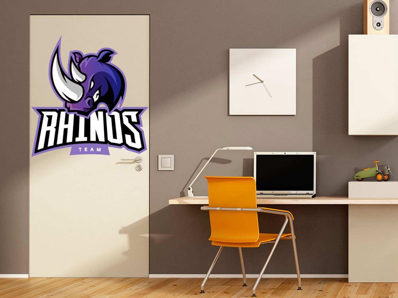 Vinilo Decorativo Puerta Rhinos Team   Carteles XXL - Impresión carteleria publicitaria