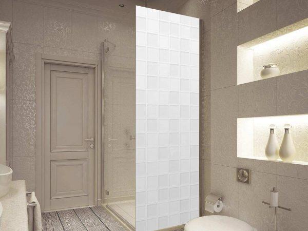 Vinilo Decorativo Mampara Textura Azulejos Blancos | Carteles XXL - Impresión carteleria publicitaria