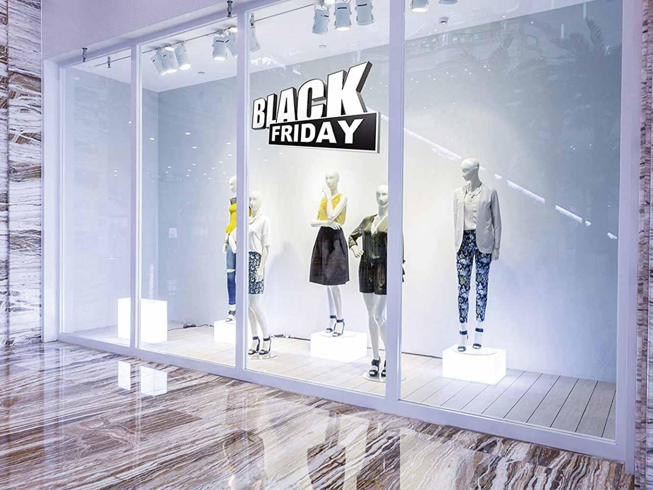 Vinilo Escaparate Black Friday Blanco Negro 3D | Carteles XXL - Impresión carteleria publicitaria