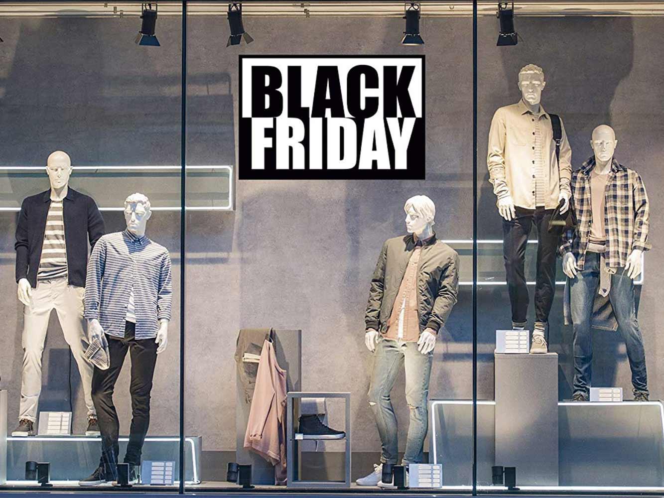 Vinilo Escaparate Black Friday Blanco Negro | Carteles XXL - Impresión carteleria publicitaria