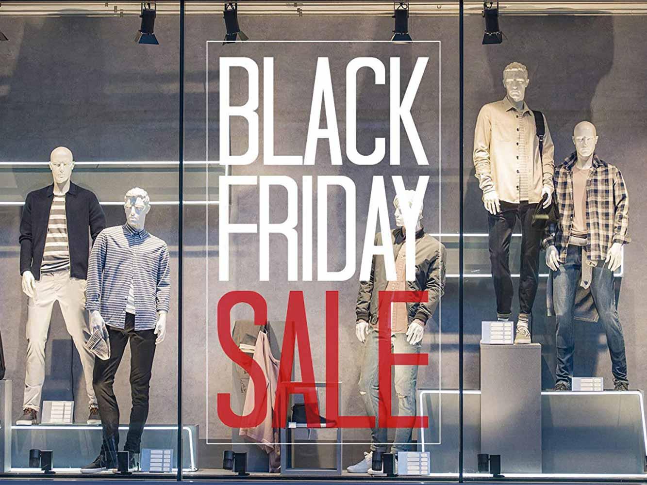 Vinilo Escaparate Black Friday Sale Blanco Rojo | Carteles XXL - Impresión carteleria publicitaria