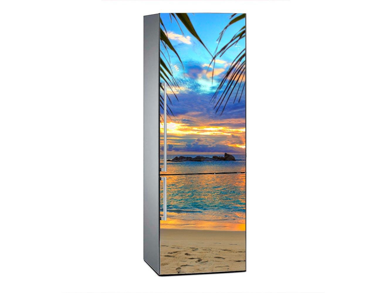 Vinilo Frigorífico Amanecer Playa Tropical | Carteles XXL - Impresión carteleria publicitaria