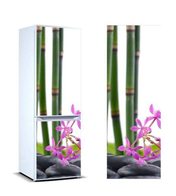 Vinilo Frigorífico Bambú Flores | Carteles XXL - Impresión carteleria publicitaria