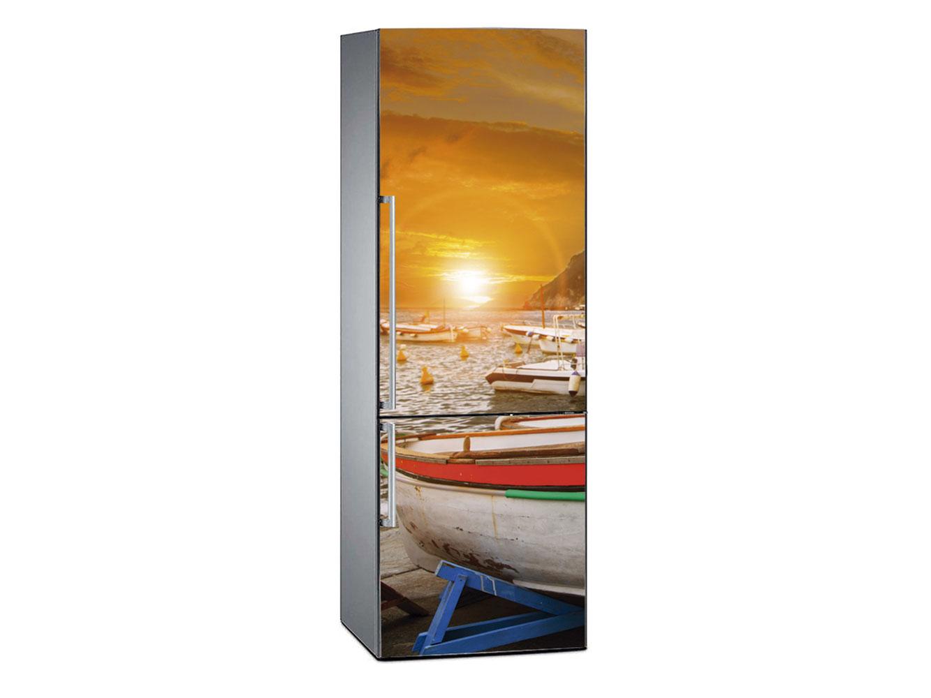 Vinilo Frigorífico Barcos Atardecer | Carteles XXL - Impresión carteleria publicitaria