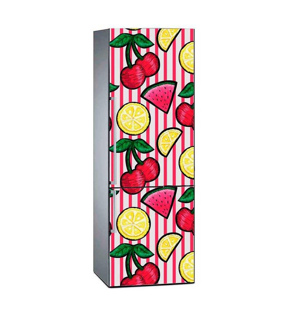 Vinilo Frigorífico Cerezas Limón Sandía | Carteles XXL - Impresión carteleria publicitaria