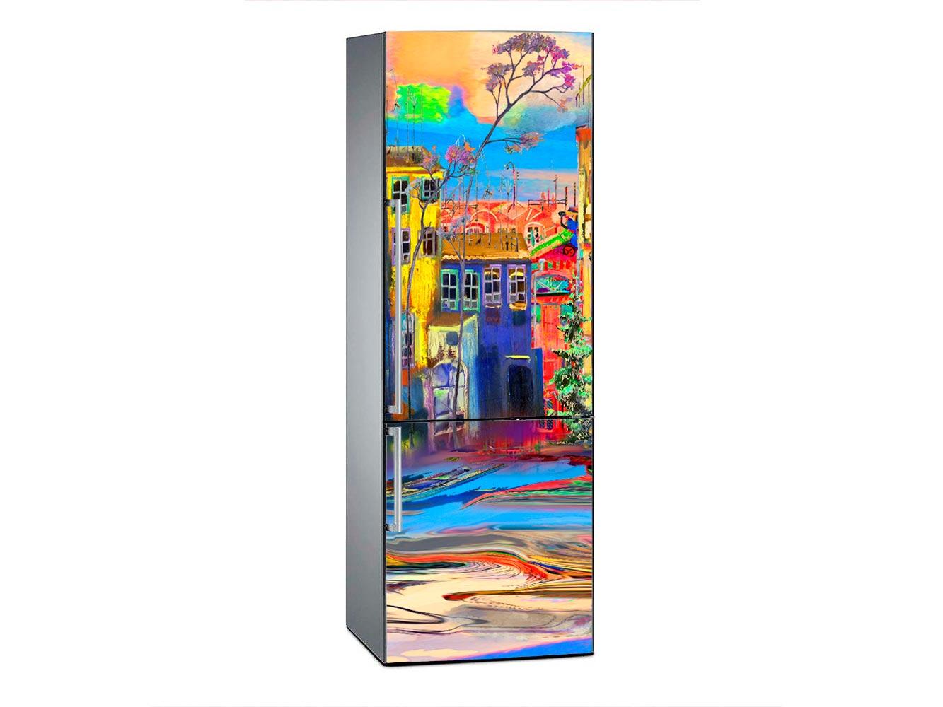 Vinilo Frigorífico Ciudad Acuarela Multicolor | Carteles XXL - Impresión carteleria publicitaria