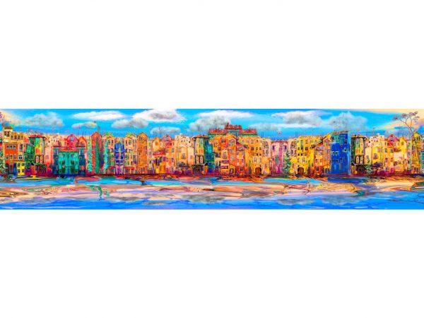 Vinilo Frigorífico Ciudad Acuarela Multicolor 2 | Carteles XXL - Impresión carteleria publicitaria