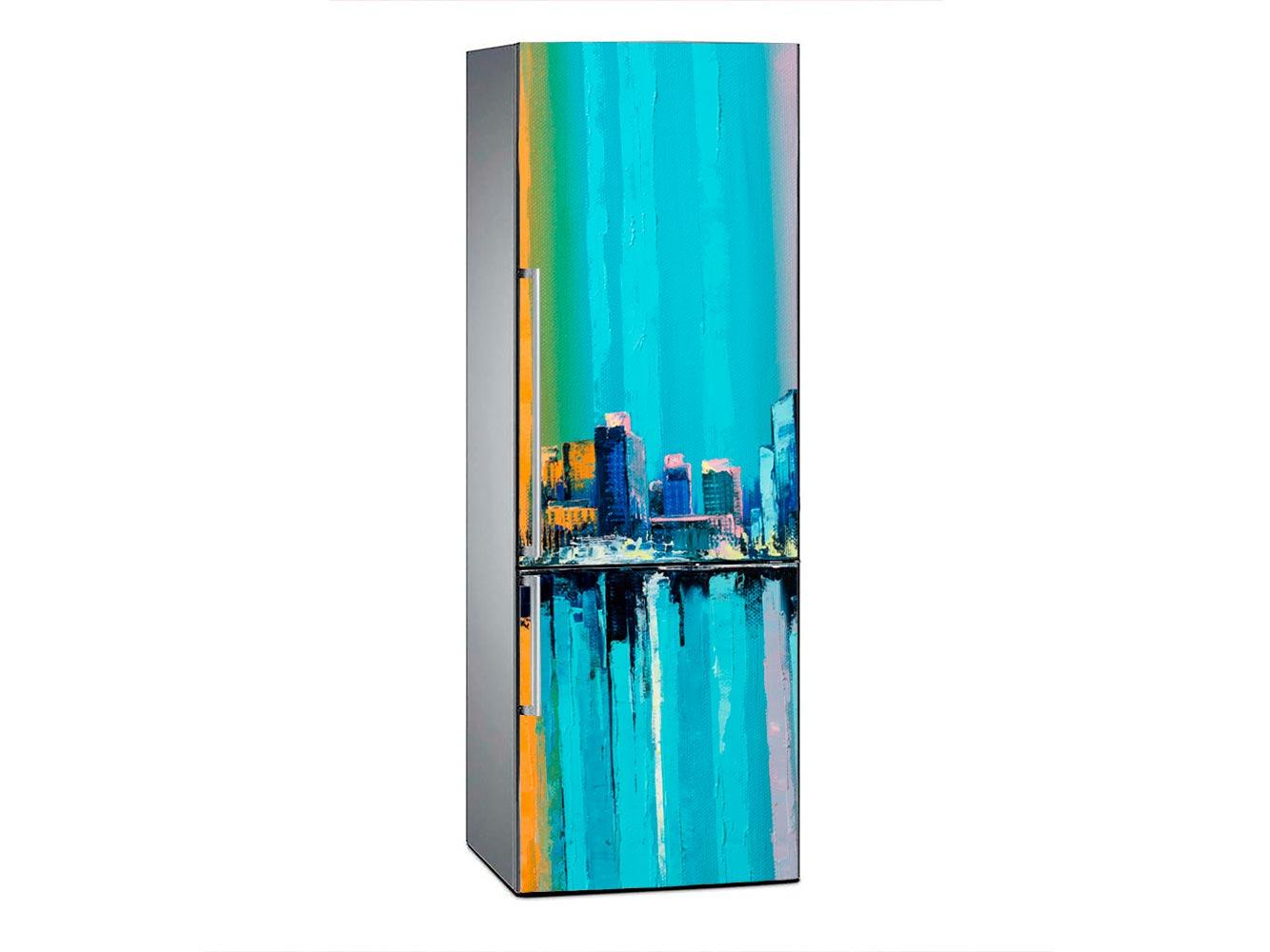 Vinilo Frigorífico Ciudad Vintage Escala Azul | Carteles XXL - Impresión carteleria publicitaria