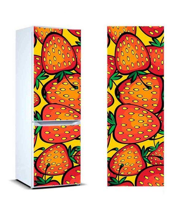 Vinilo Frigorífico Dibujo Fresas | Carteles XXL - Impresión carteleria publicitaria