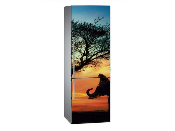 Vinilo Frigorífico Elefantes en la Sabana | Carteles XXL - Impresión carteleria publicitaria