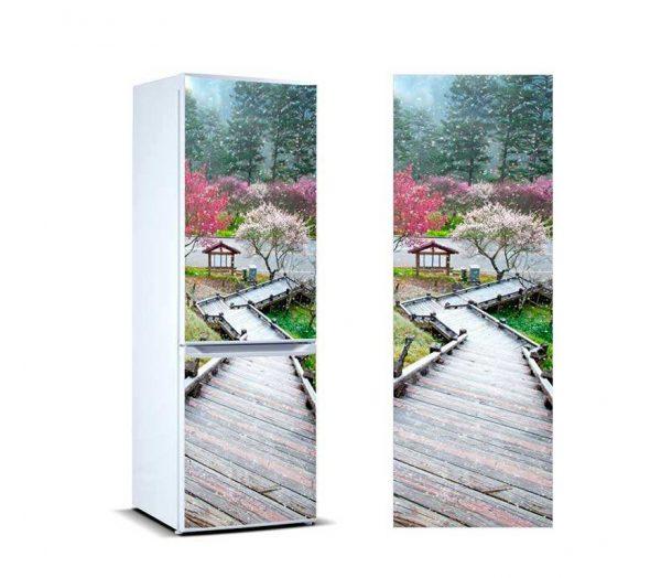 Vinilo Frigorífico Escalera Madera | Carteles XXL - Impresión carteleria publicitaria