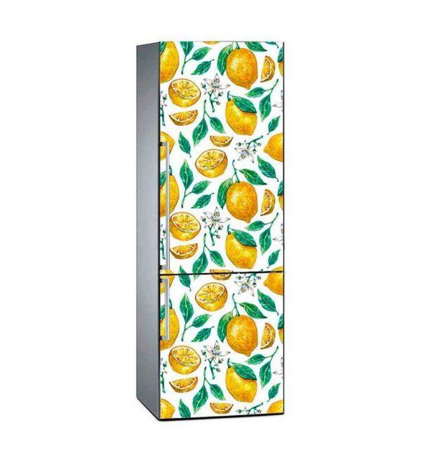 Vinilo Frigorífico Limón y Flores de Azahar | Carteles XXL - Impresión carteleria publicitaria