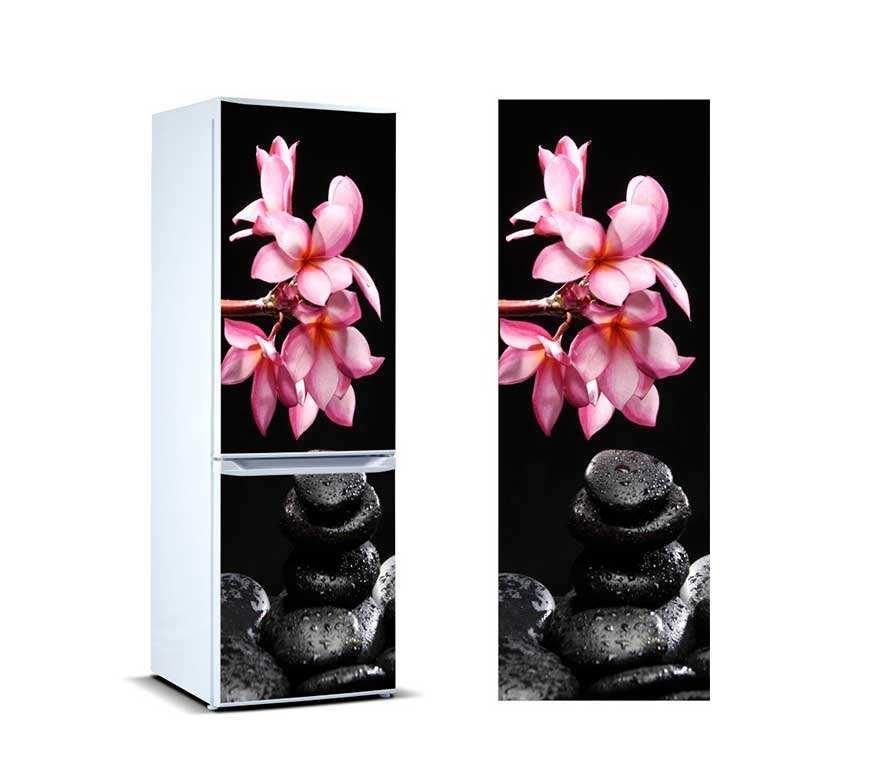 Vinilo Frigorífico Piedras Negras y Flores   Carteles XXL - Impresión carteleria publicitaria