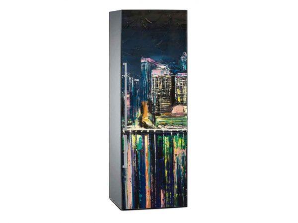 Vinilo Frigorífico Pintura Ciudad Nocturna 3   Carteles XXL - Impresión carteleria publicitaria