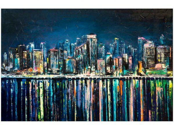 Vinilo Frigorífico Pintura Ciudad Nocturna 2 | Carteles XXL - Impresión carteleria publicitaria