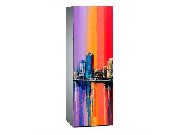 Vinilo Frigorífico Pintura Ciudad Vintage Multicolor | Carteles XXL - Impresión carteleria publicitaria