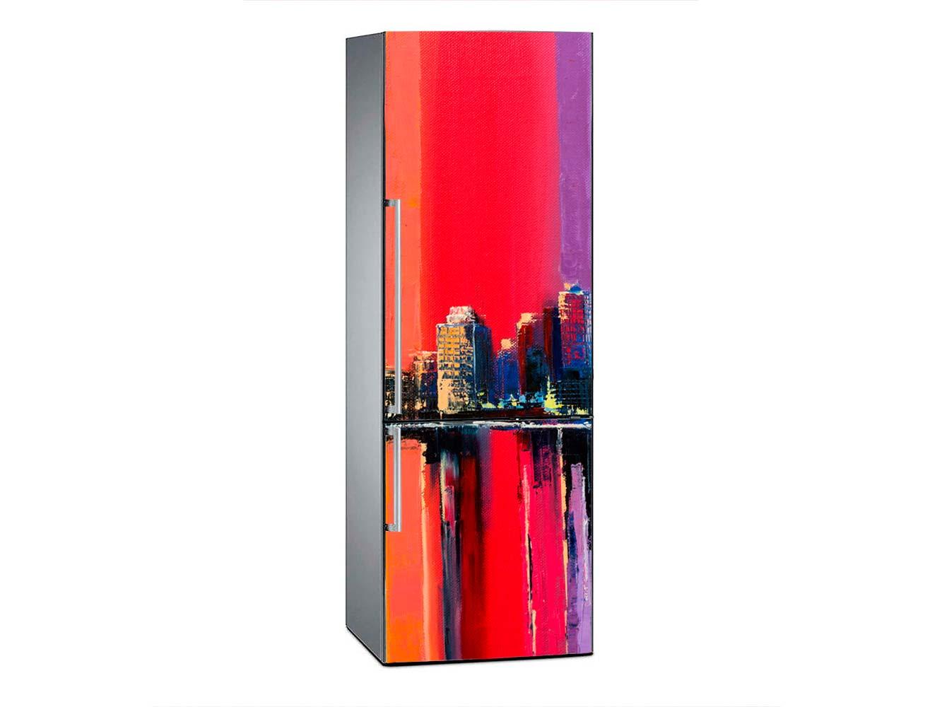 Vinilo Frigorífico Pintura Ciudad Vintage Roja 2 | Carteles XXL - Impresión carteleria publicitaria