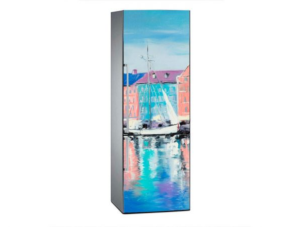Vinilo Frigorífico Pintura Velero y Casas Azules | Carteles XXL - Impresión carteleria publicitaria