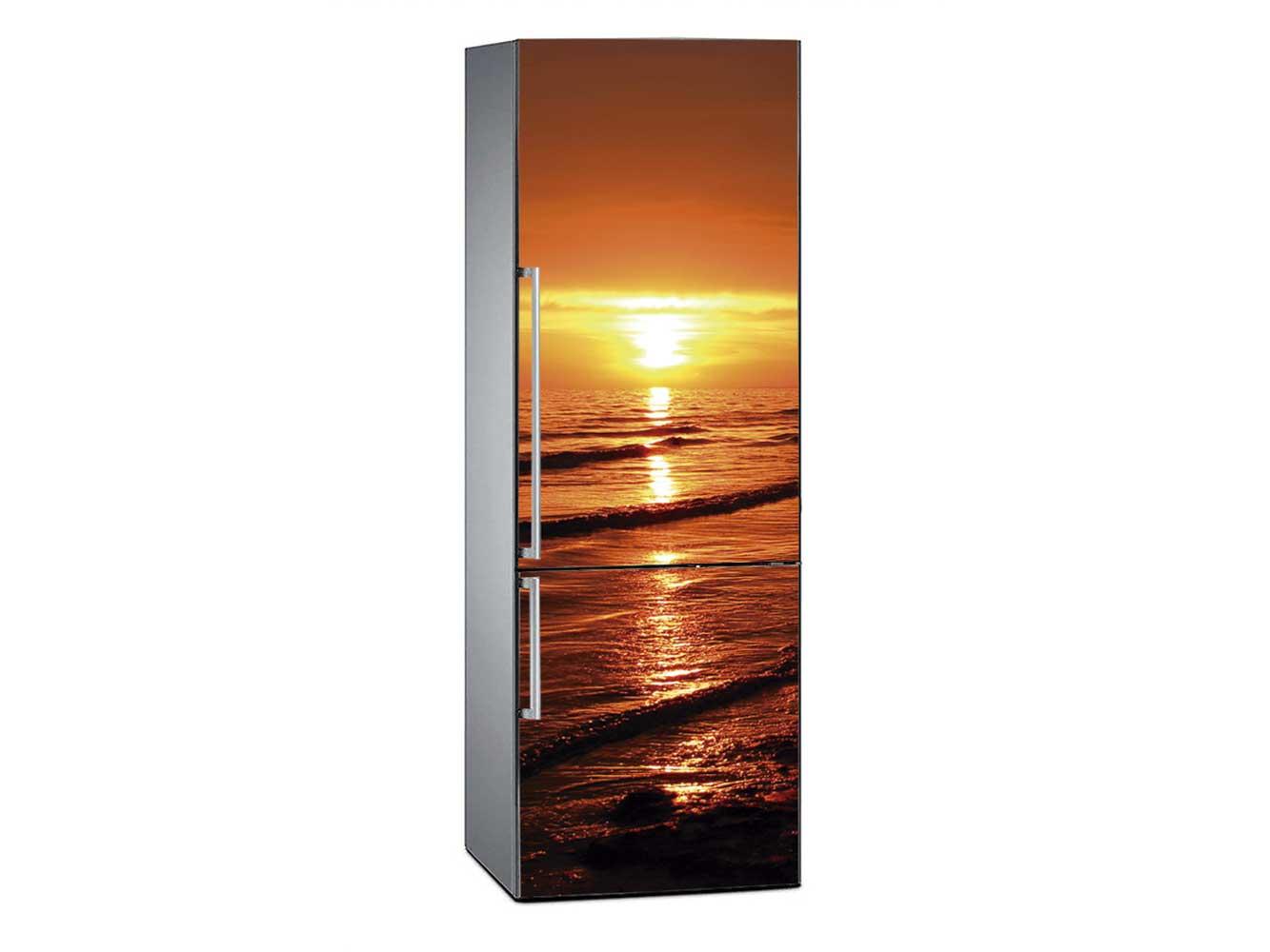 Vinilo Frigorífico Puesta de Sol Mar Negro | Carteles XXL - Impresión carteleria publicitaria