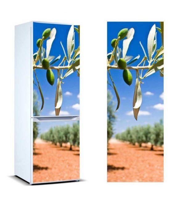 Vinilo Frigorífico Rama Olivo Aceitunas Verdes | Carteles XXL - Impresión carteleria publicitaria