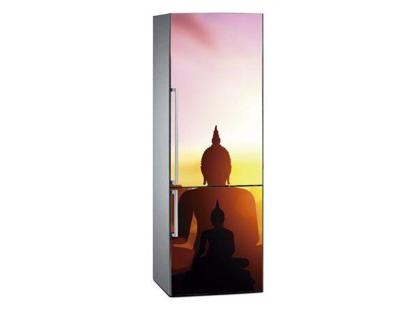 Vinilo Frigorífico Silueta Buda al Atardecer | Carteles XXL - Impresión carteleria publicitaria