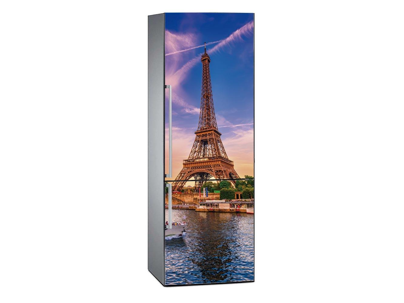 Vinilo Frigorífico Torre Eiffel Anochecer | Carteles XXL - Impresión carteleria publicitaria