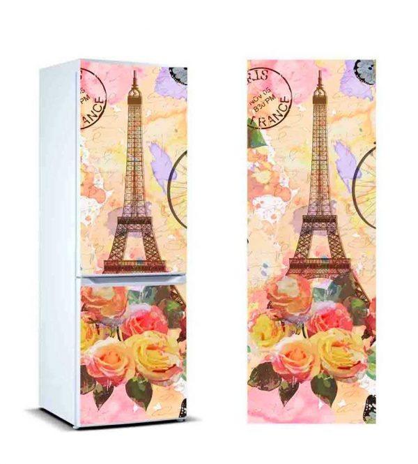 Vinilo Frigorífico Torre Eiffel Flores   Carteles XXL - Impresión carteleria publicitaria