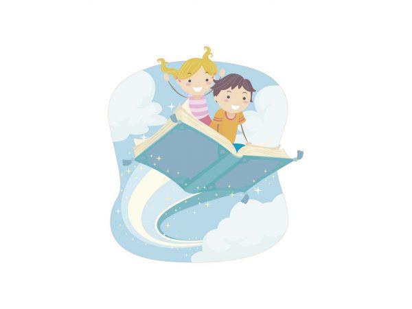 Vinilo Infantil Chico y Chica Lectura | Carteles XXL - Impresión carteleria publicitaria
