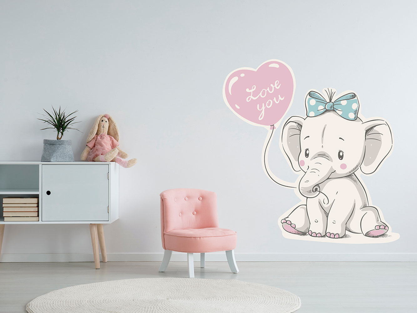 Vinilo Infantil Elefante Love You   Carteles XXL - Impresión carteleria publicitaria