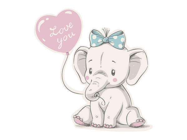 Vinilo Infantil Elefante Love You | Carteles XXL - Impresión carteleria publicitaria